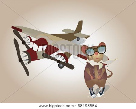Cartoon Pilot Mouse in uniform with Plane