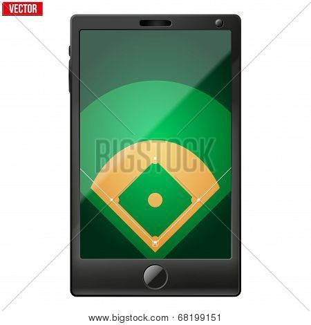 Smartphone with a baseball field on the screen.