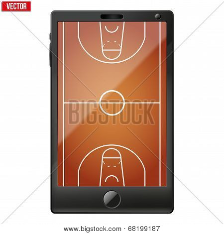 Smartphone with a basketball field on the screen.