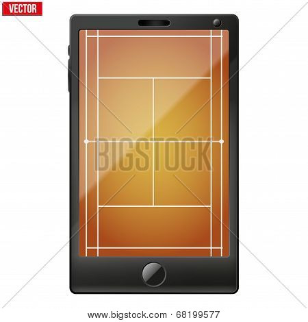 Smartphone with a tennis field on the screen.