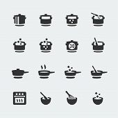 stock photo of saucepan  - Vector cooking mini icons set on grey background - JPG
