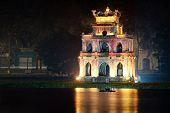 image of tortoise  - Turtle tower or Tortoise tower in Hoan Kiem lake in Hanoi - JPG