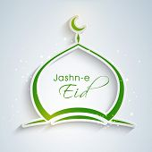 picture of eid festival celebration  - Stylish mosque in green colour for Muslim community festival Jashn - JPG