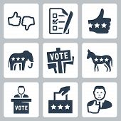 foto of voting  - Vector voting and politics icons set over white - JPG