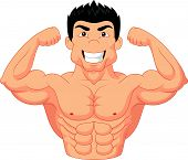 foto of strongman  - Vector illustration of cartoon Bodybuilder isolated on white - JPG