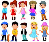 stock photo of brunete  - Vector illustration of cute children cartoon collection - JPG