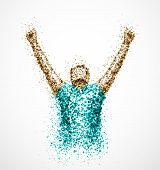 stock photo of winner man  - Abstract successful man from circles - JPG