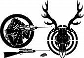 pic of hunt-shotgun  - Isolated stencil symbol set for deer hunting - JPG