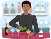 stock photo of bartender  - Illustration of a Bartender Mixing Drinks - JPG