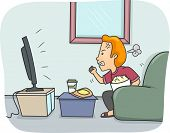 pic of pissed off  - Illustration of a Man Getting Angry While Watching TV - JPG