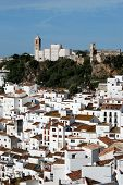 stock photo of pueblo  - View of the town and church pueblo blanco Casares Costa del Sol Malaga Province Andalucia Spain Western Europe - JPG