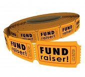 stock photo of money prize  - Fund Raiser words roll fifty - JPG
