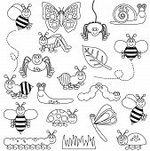 picture of fire ant  - Large Vector Set of Cute Cartoon Bug Line Art - JPG