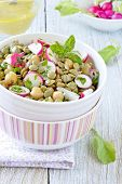 pic of chickpea  - Green lentil and chickpea salad with radish and herbs.