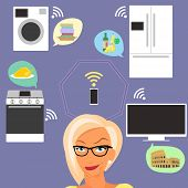 image of televisor  - Blond woman thinking about smart gadgets at home and applications around her - JPG
