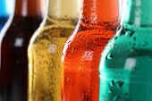 stock photo of cold drink  - Soda drinks with cola soft drinks in bottles - JPG