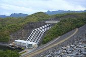 stock photo of hydroelectric  - Srinagarind Hydroelectricity Dam building below water level - JPG