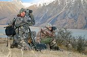 pic of hunter  - Hunters scoping for Himalayan tahr in the Southern Alps of New Zealand