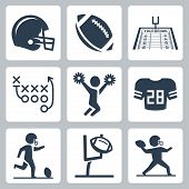 image of cheerleader  - American football vector icons set over white - JPG