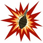 pic of grenades  - Grenade on a background of explosion - JPG