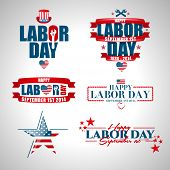 foto of labor  - set of vector labels templates on Labor Day a national holiday of the United States - JPG