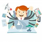 stock photo of multitasking  - Vector Illustration of Very busy office man working hard by eight hands - JPG