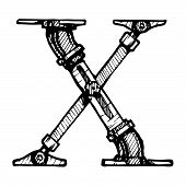 foto of letter x  - Steampunk letter made of different technical pieces - JPG