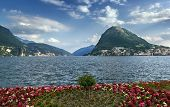 picture of salvatore  - View of Monte San Salvatore and Lugano lake Switzerland