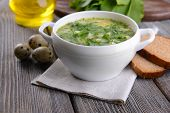 image of sorrel  - Delicious green soup with sorrel on table close - JPG