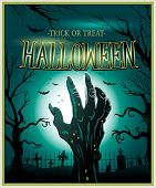 foto of monsters  - Zombie monster hand green Halloween invitation background - JPG