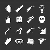 stock photo of welding  - Set icons of welding isolated on black - JPG