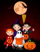 foto of happy halloween  - Halloween background with children trick or treating in Halloween costume  - JPG