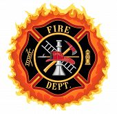 stock photo of firefighter  - Fire department or firefighter Maltese cross symbol illustration with flames - JPG