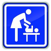 stock photo of diaper change  - Vector illustration of baby changing icon on white background - JPG