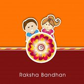 stock photo of rakhi  - Raksha Bandhan celebrations greeting card design with rakhi and cute little brother and sister on orange and maroon background - JPG