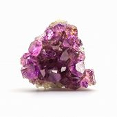 foto of crystal glass  - Crystal Stone purple rough amethyst crystals on white background - JPG