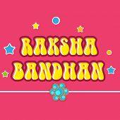 picture of rakhi  - Beautiful greeting card design with rakhi on stars decorated pink background for Happy Raksha Bandhan celebrations - JPG