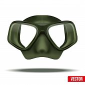 stock photo of rubber mask  - Front view of Underwater diving scuba green mask - JPG
