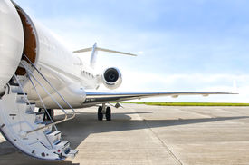 picture of aeroplan  - Stairs with Jet Engine on a modern private jet airplane  - JPG