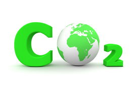 stock photo of carbon-dioxide  - chemical symbol CO2 for carbon dioxide in green  - JPG