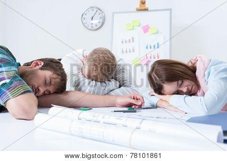 Overworked People Sleeps At Work