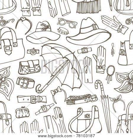 Outline Vector Female Accessories seamless pattern