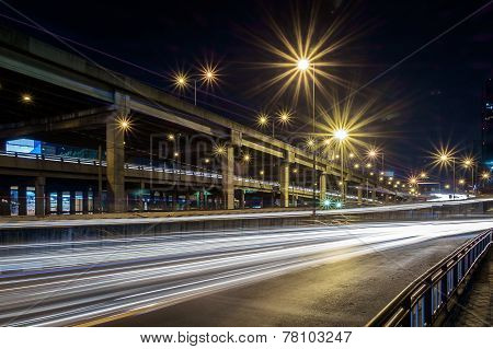 Long Exposure Image Of Cars Rushing