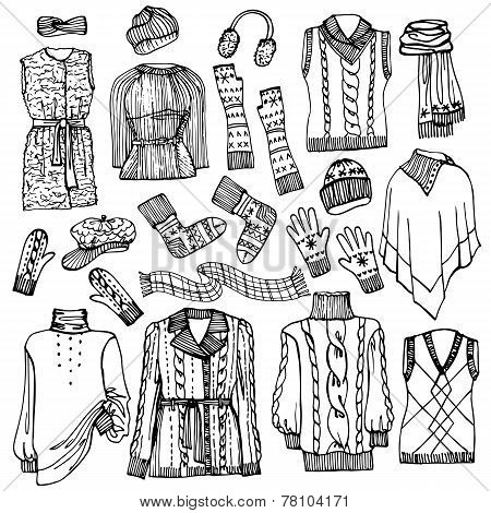 Outline Sketchy vector.Females knitted clothing set