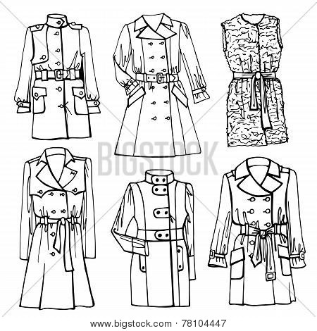 Outline Sketchy clothing.Females coat set