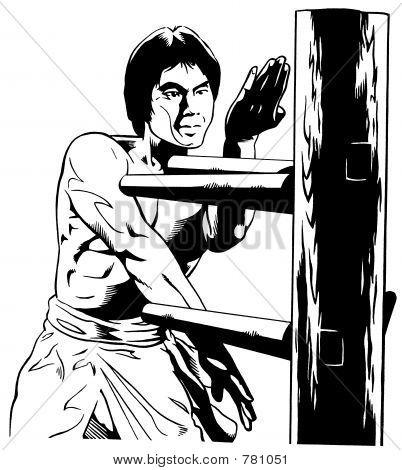 Kung Fu Master w/ Wood Practice Dummy