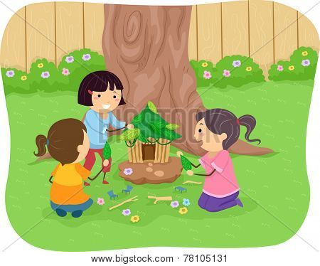 Illustration of Little Girls Building a Fairy House
