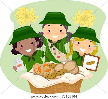 Illustration of Girl Scouts Selling Girl Scout Cookies