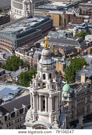 London view from the St. Paul cathedral. Main entrance nave of cathedral on the front view