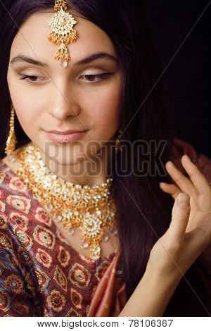 beauty sweet indian girl in sari smiling